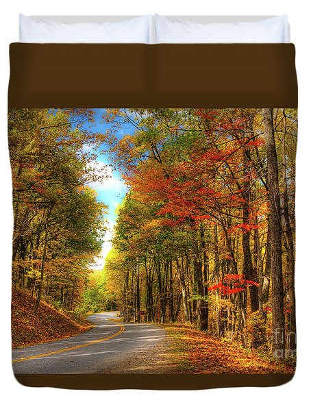 Vivid Autumn In The Blue Ridge Mountains Duvet Cover by Dan Carmichael