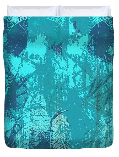 Vivid Blue Seafoam Nyc Water Towers  Duvet Cover