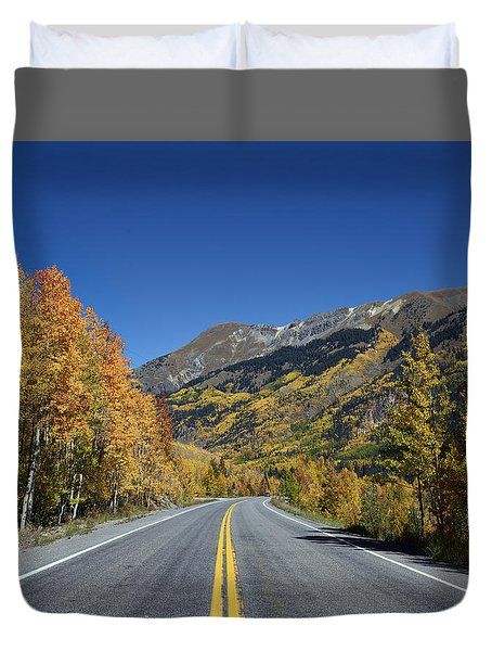 Vivid Fall Colors On The Million-dollar Highway In San Juan County In Colorado  Duvet Cover by Carol M Highsmith