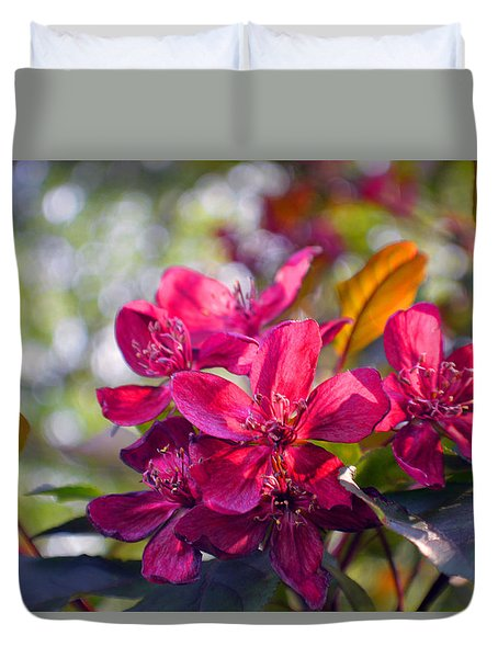 Vivid Pink Flowers Duvet Cover by Tina M Wenger