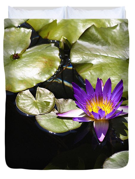 Vivid Purple Water Lilly Duvet Cover by Teresa Mucha