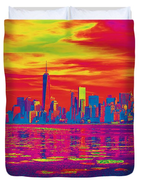 Vivid Skyline Of New York City, United States Duvet Cover
