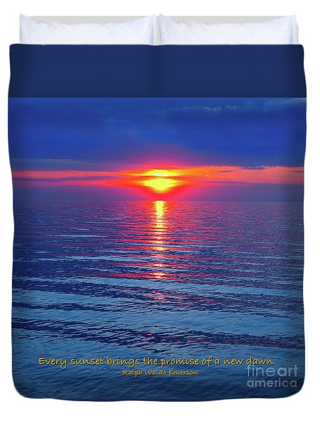 Vivid Sunset - Emerson Quote - Square Format Duvet Cover