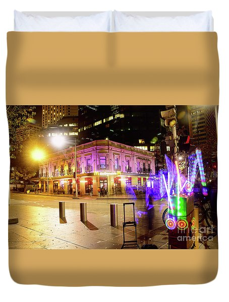 Duvet Cover featuring the photograph Vivid Sydney Circular Quay By Kaye Menner by Kaye Menner