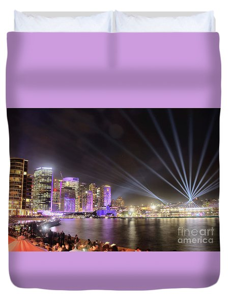 Duvet Cover featuring the photograph Vivid Sydney Skyline By Kaye Menner by Kaye Menner