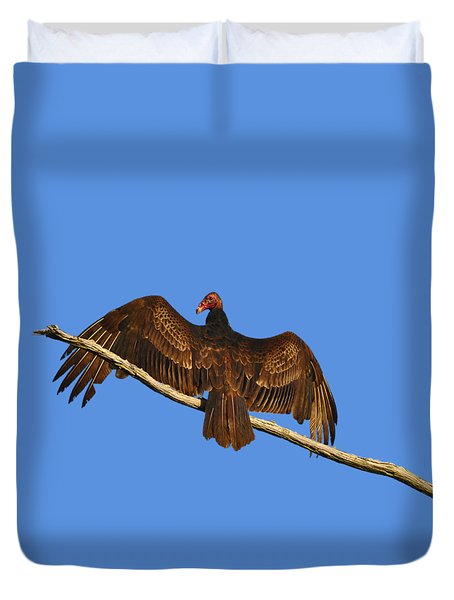 Duvet Cover featuring the photograph Vivid Vulture .png by Al Powell Photography USA