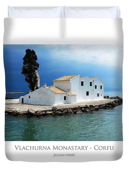 Duvet Cover featuring the digital art Vlachurna Monastary - Corfu by Julian Perry