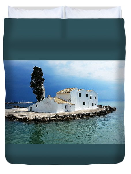 Duvet Cover featuring the digital art Vlachurna Monastry by Julian Perry