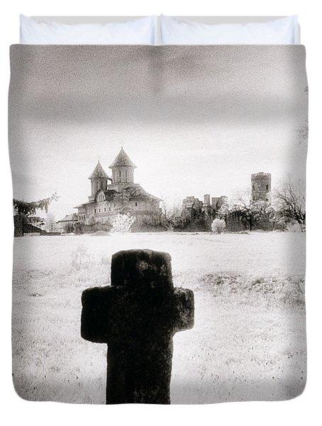 Vlad Draculas Palace Duvet Cover by Simon Marsden
