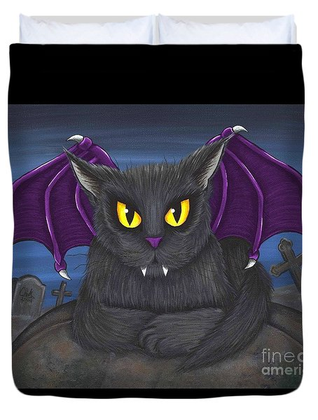 Duvet Cover featuring the painting Vlad Vampire Cat by Carrie Hawks