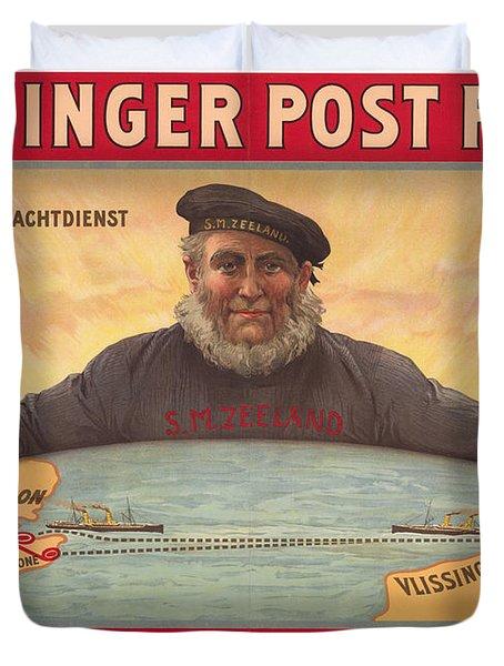 Vlissinger Post Route - Zeeland Maritime Company Poster - London To Flushing Ship Route Duvet Cover