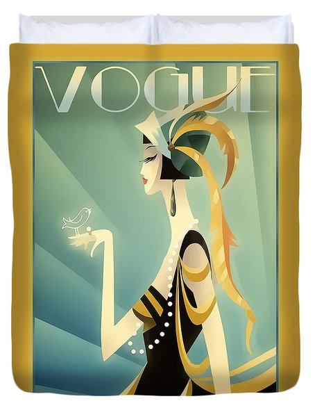 Duvet Cover featuring the digital art Vogue - Bird On Hand by Chuck Staley