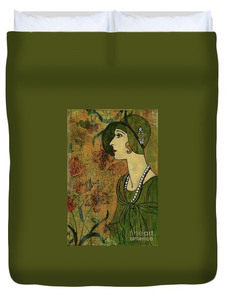 Duvet Cover featuring the painting Vogue Twenties by P J Lewis
