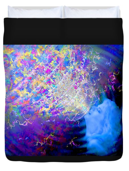 Duvet Cover featuring the painting Voice by Robby Donaghey