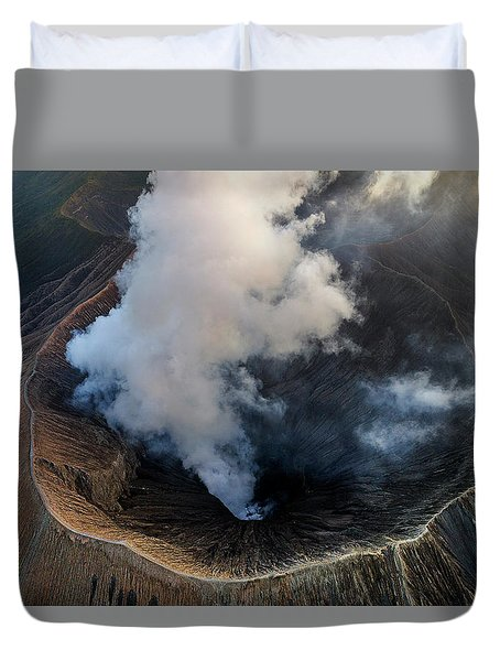 Duvet Cover featuring the photograph Volcanic Crater From Above by Pradeep Raja Prints
