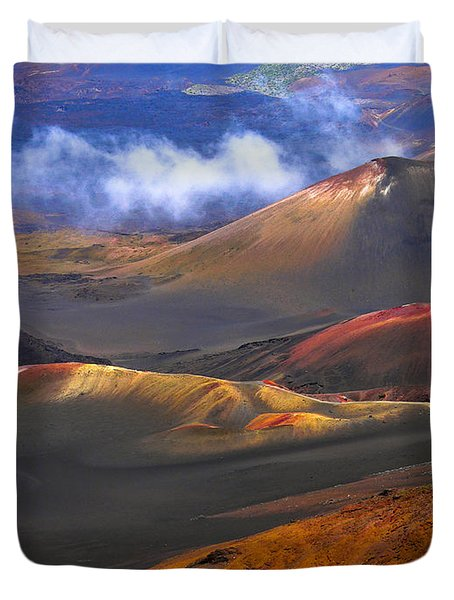 Volcanic Crater In Maui Duvet Cover by Debbie Karnes