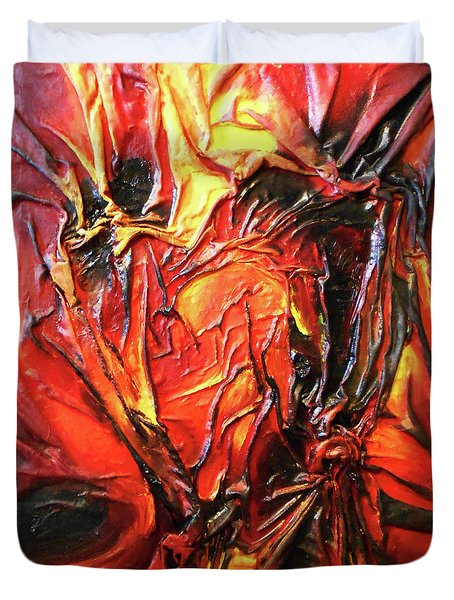 Volcanic Fire Duvet Cover by Angela Stout