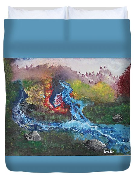 Duvet Cover featuring the painting Volcano Delta by Antonio Romero