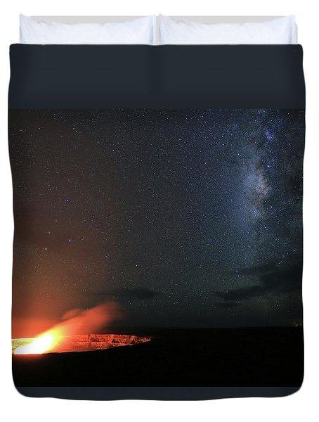 Volcano Under The Milky Way Duvet Cover