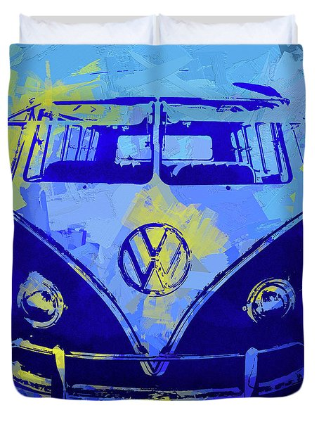 Volkswagen Bus Pop Blue Duvet Cover