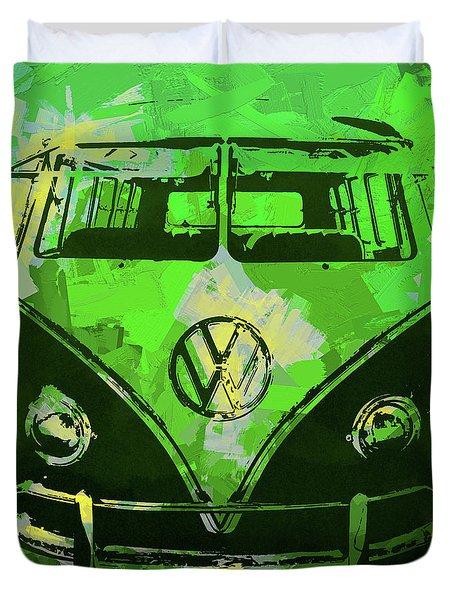 Volkswagen Bus Pop Green Duvet Cover