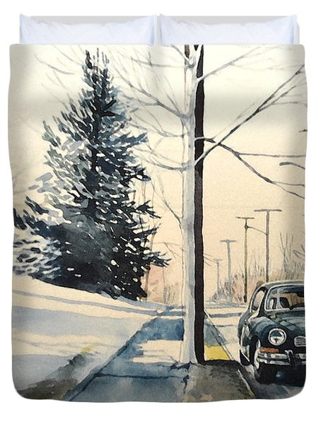 Volkswagen Karmann Ghia On Snowy Road Duvet Cover