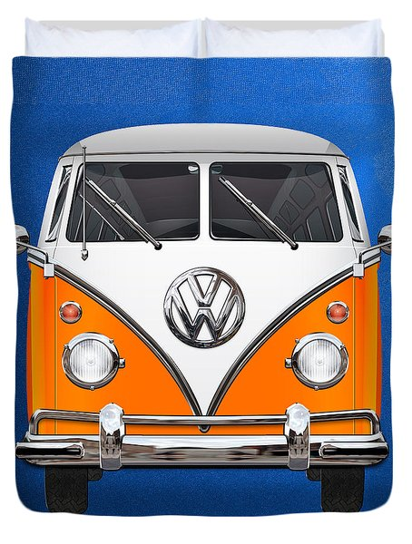 Volkswagen Type - Orange And White Volkswagen T 1 Samba Bus Over Blue Canvas Duvet Cover by Serge Averbukh