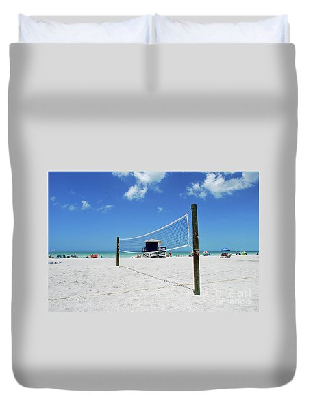 Duvet Cover featuring the photograph Volley Ball On The Beach by Gary Wonning