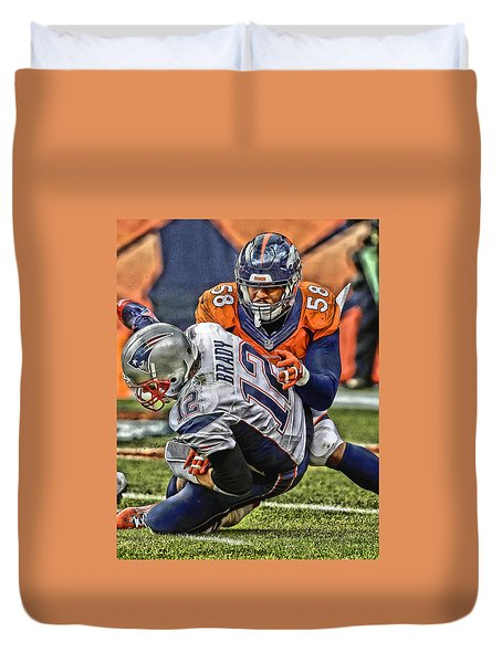 Von Miller Denver Broncos Art Duvet Cover by Joe Hamilton