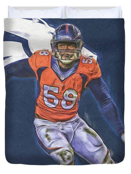 Von Miller Denver Broncos Oil Art Duvet Cover