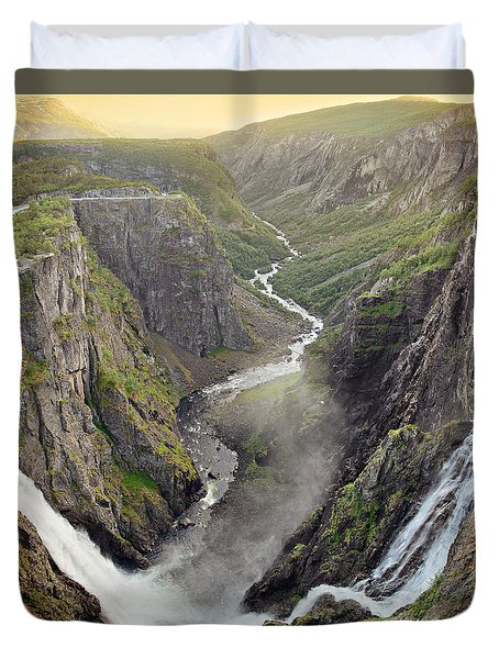 Voringsfossen Waterfall And Canyon Duvet Cover