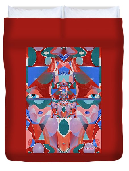 Abstract Vortex In Red Duvet Cover