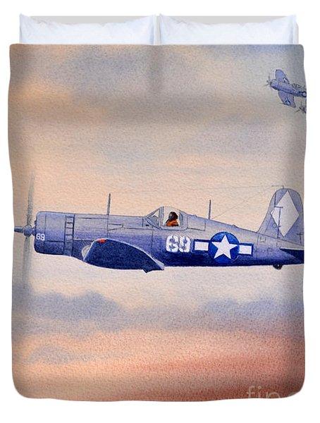 Vought F4u-1d Corsair Aircraft Duvet Cover by Bill Holkham