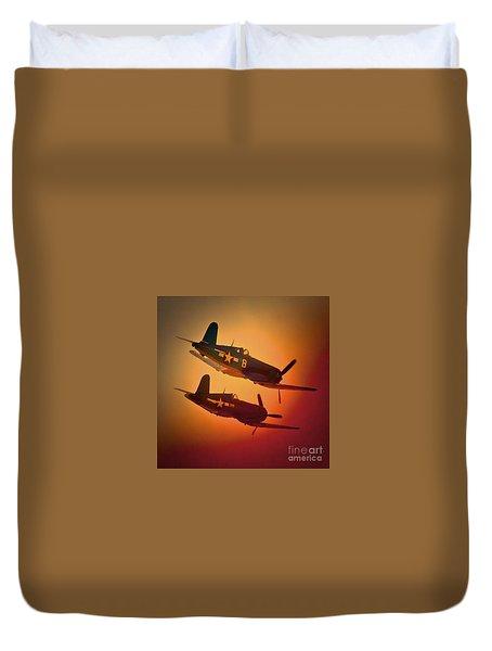 Vought F4u Corsair Sunset Two Ship Duvet Cover