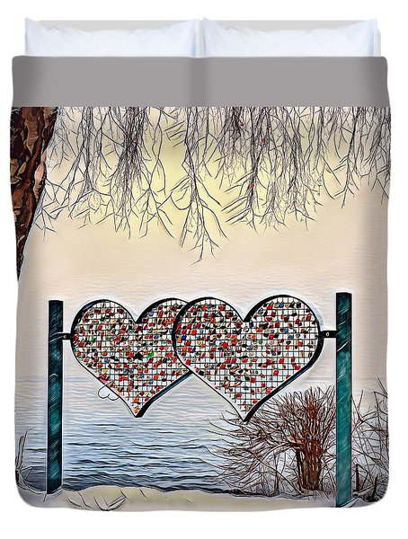 Duvet Cover featuring the digital art Vow Of Love by Pennie McCracken