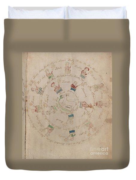 Voynich Manuscript Astro Aries Duvet Cover