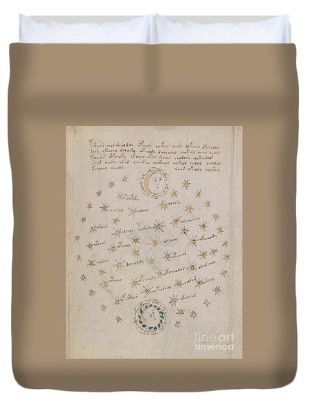 Voynich Manuscript Astro Sun And Moon 1 Duvet Cover