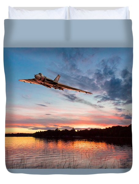 Duvet Cover featuring the digital art Vulcan Low Over A Sunset Lake by Gary Eason