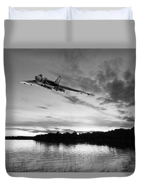 Duvet Cover featuring the digital art Vulcan Low Over A Sunset Lake Sunset Lake Bw by Gary Eason