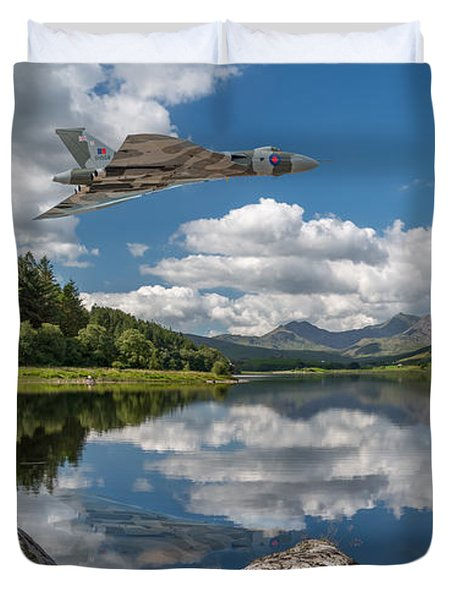 Vulcan Over Lake Duvet Cover