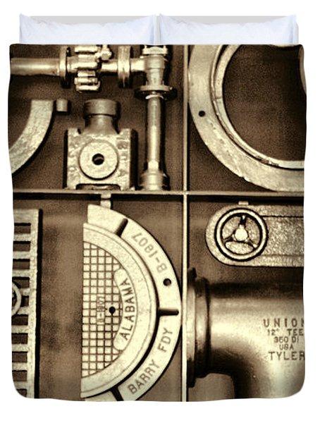 Vulcan Steel Steampunk Ironworks Duvet Cover by Kathy Clark