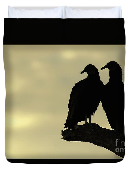 Vultures Silhouetted At Sunset Duvet Cover