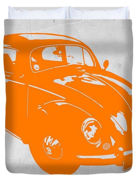 Vw Beetle Orange Duvet Cover by Naxart Studio