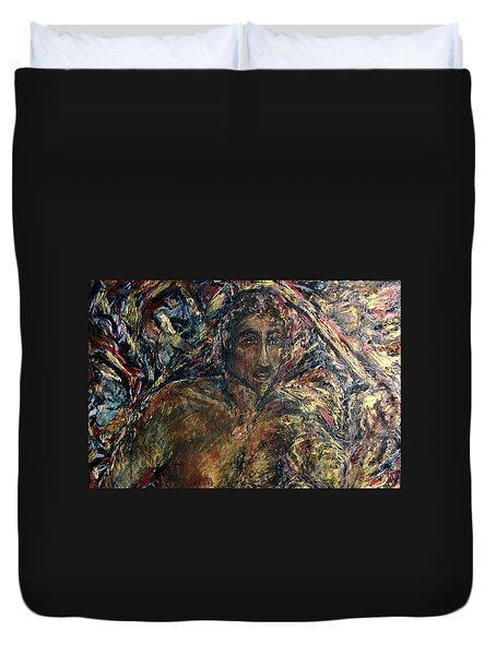 Duvet Cover featuring the painting W1 by Dawn Fisher