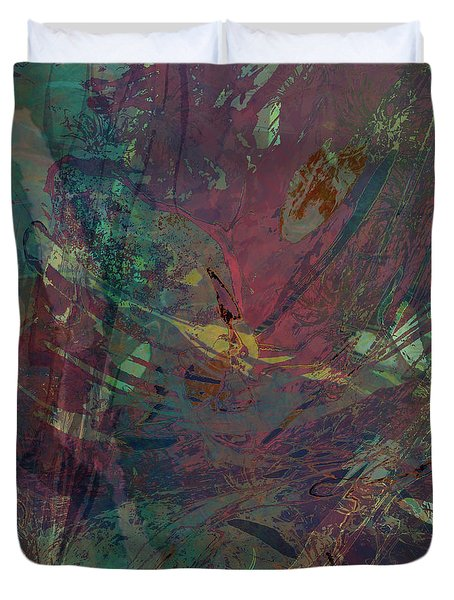 Wabi-sabi Ikebana Remix Illuminated Purple And Green Duvet Cover