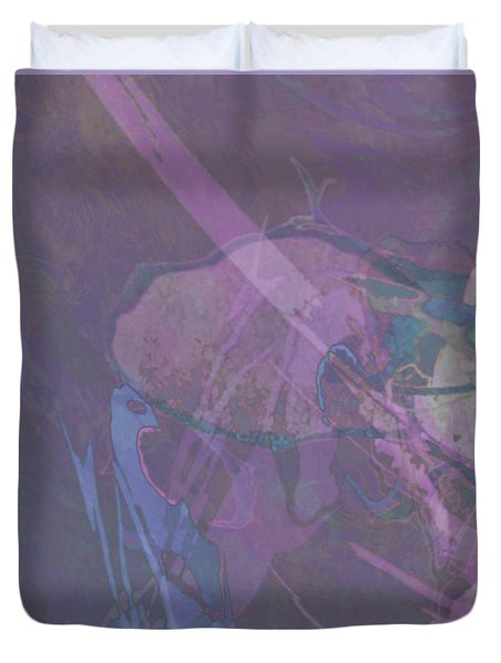 Wabi-sabi Ikebana Remix In Purple And Blue Duvet Cover
