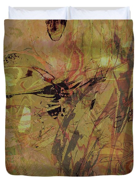 Wabi-sabi Remix Pink And Yellow Green Duvet Cover