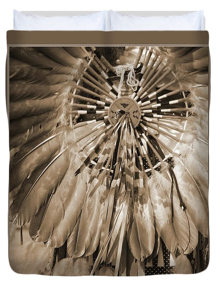 Duvet Cover featuring the photograph Wacipi Dancer In Sepia by Heidi Hermes