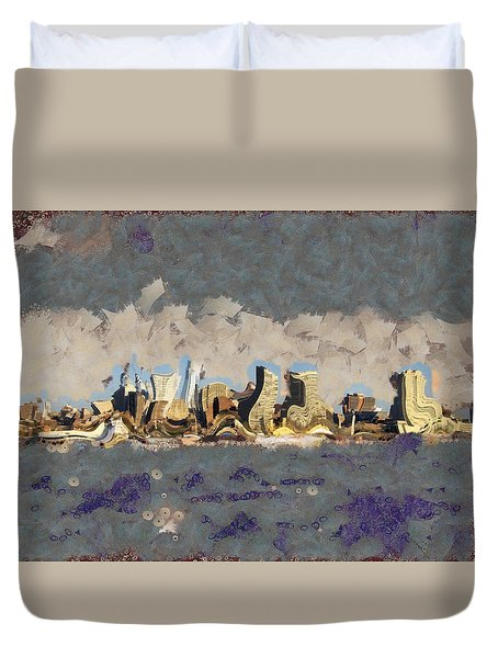Duvet Cover featuring the mixed media Wacky Philly Skyline by Trish Tritz