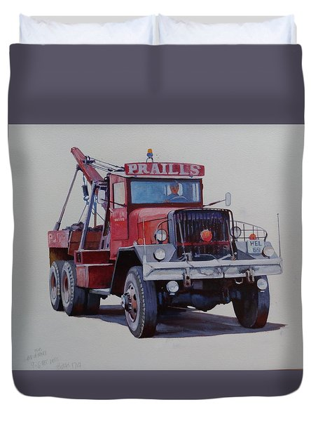 Duvet Cover featuring the painting Ward La France Wrecker by Mike Jeffries
